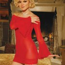 RED-BELL SLEEVE MESH MINI DRESS-G-STRING-NAUGHTY