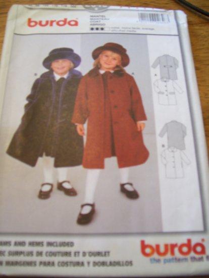 Burda 2646 Girls Coat size 2 - 7