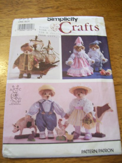 """Simplicity 7711 13"""" Jointed Historical Bear and Clothes Pattern"""
