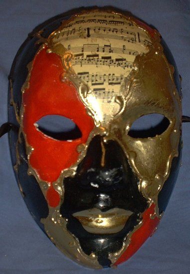 venetian Costume Mask red, black, music masquerade