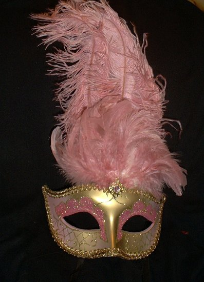 GOLD PINK JEWELED  MARDI GRAS PARTY MASQUERADE MASK