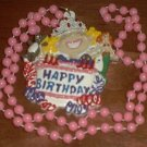 PINK CAKE HAPPY BIRTHDAY MARDI GRAS BEAD PARTY NECKLACE
