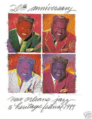 NEW ORLEANS JAZZ FEST POSTER POST CARD 1989 FATS DOMINO