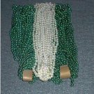 LOT 36 MARDI GRAS BEADS PEARL and GREEN ST PATRICKS
