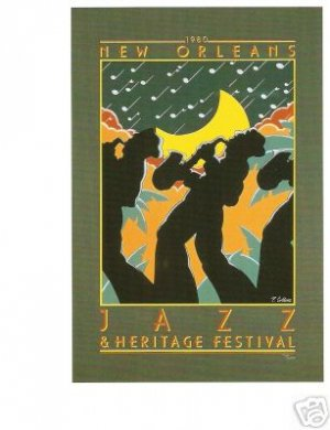 NEW ORLEANS JAZZ FESTIVAL POSTER POST CARD 1980 NEW