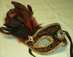 RED RUBY JEWEL VENETIAN FEATHER MASK  MASQUERADE