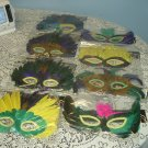 12 PC LOT FEATHER MASK MASKS MARDI GRAS MASQUERADE
