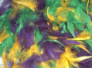 PURPLE GREEN GOLD FEATHER BOA 6FT 6 FT NEW MASQUERADE