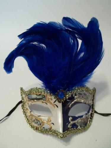 Blue Small Venetian Feather Mask Mardi Gras Masquerade
