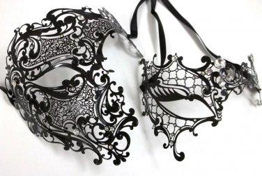 Black Crystal Phantom Men Woman Venetian Mask Masquerade Metal Couple Masks Set