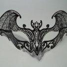 Black Gothic Bat Laser Cut Venetian Mask Masquerade Metal Filigree Halloween