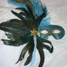 Turquoise Peacock Ostrich Feather Masquerade Mardi Gras Mask