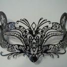 Black Fox Cat Laser Cut Venetian Mask Masquerade Metal Filigree Crystal Gems