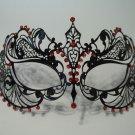 Black Red Crystal Beautiful Eyes Laser Venetian Mask Masquerade Metal Filigree