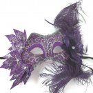 Purple Venetian Masquerade Fairy Costume Ivy Feather Leaf Nymph Mask