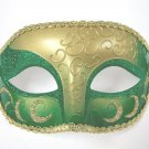 Green Gold Venetian Mardi Gras Masquerade Half Crescent Elegant Mask
