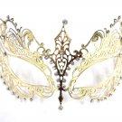 Gold Crystal Beautiful Eyes Laser Cut Venetian Mask Masquerade Metal Filigree