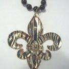 Black Gold Stripe Fleur De Lis New Orleans Saints Mardi Gras Bead Necklace