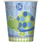 1st Birthday Blue Turtle Party Supplies 9 oz Hot / Cold Paper Cups 8 ct
