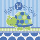 1st Birthday Blue Turtle Party Supplies Lunch Napkins 16 ct
