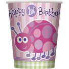 1st Birthday Ladybug Pink Party Supplies 8 ct 9 oz Hot/ Cold Paper Cups