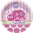 1st Birthday Ladybug Pink Party Supplies Dessert Cake Plates 8 ct