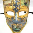 Blue Gold Bauta Aged Venetian Mardi Gras Men's Masquerade Square Mardi Gras Mask
