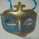 Light Blue Gold Glitter Venetian Masquerade Costume Mask Mardi Gras