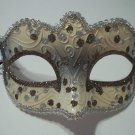 White Silver Brown Small Venetian Masquerade Mardi Gras Mask