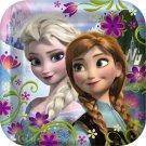 "Disney Frozen 9"" Square Paper Lunch Dinner Plates 8 ct Party Supplies Elsa Anna"
