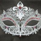White Pink Crystal Crown Laser Cut Venetian Mask Masquerade Metal Filigree