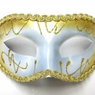 Wide White Gold Mardi Gras Masquerade Party Value Mask