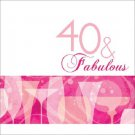 40 & Fabulous 40th Pink Cocktail Birthday Party Supplies Lunch Napkins 16 ct