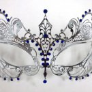 Silver Blue Crystal Beautiful Eyes Laser Venetian Mask Masquerade Metal Filigree