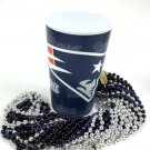 New England Patriots 22 oz Cup 12 Mardi Gras Beads Blue Silver Party Supplies