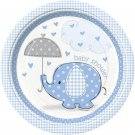 """Umbrella Elephant Blue Boy Baby Shower Party Supplies Dinner Lunch 9"""" Plates"""