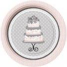 "Elegant Wedding Bridal Shower Engagement 7"" Dessert Cake Plates Party Supplies"
