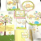 Happi Happy Tree Owl Baby Shower Large Set Party Supplies 16 Guests Pink plates