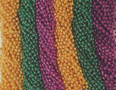 144 Purple Green Gold Mardi Gras Beads Necklaces 12 dozen Lot Free Shipping