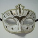 Gray White Gold Stripe Venetian Mardi Gras Masquerade Mask Prom Dance