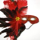 Red Peacock Ostrich Feather Masquerade Mask Mardi Gras