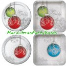 Christmas Winter Party Snowflakes Jingle Bells Deep Dish Square Round Plates