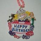 Pink Cake Happy Birthday Mardi Gras Bead Party Necklace