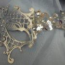 Silver Lady Phantom Laser Cut Venetian Mask Masquerade Metal Filigree Halloween