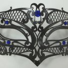 Male Small Black Blue Laser Cut Venetian Masquerade Metal Filigree Mask Men Boys