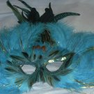 Turquoise Feather Masquerade Costume Ball Prom Mask