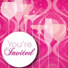 Fabulous Pink Cocktail Drink Birthday Party Supplies Invitations 8 ct