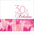 30 & Fabulous 30th Pink Cocktail Birthday Party Supplies Lunch Napkins 16 ct