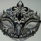 Black Laser Cut Venetian Mask Masquerade Ball Prom Metal Filigree Crystals