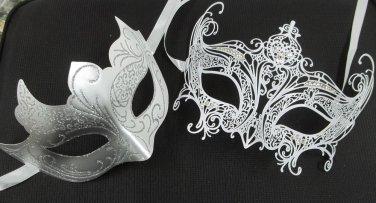 White Regal Laser Venetian Couples Man Woman Masquerade Metal Mask Set